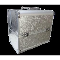 Kuferek kosmetyczny srebrny grawerowany