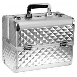 Kuferek kosmetyczny 3D srebrny
